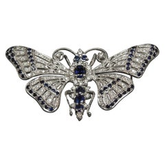 Kashmir Sapphire and Diamond 18 Karat Butterfly Pin / Slide Pendant