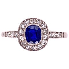 Kashmir Sapphire Diamond Art Deco Style Platinum Ring Estate Fine Jewelry GIA