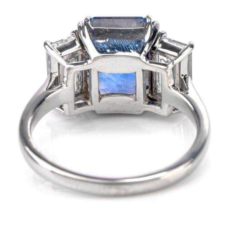 Modern Kashmir Sapphire No Heat Diamond Platinum 3-Stone Engagement Ring For Sale
