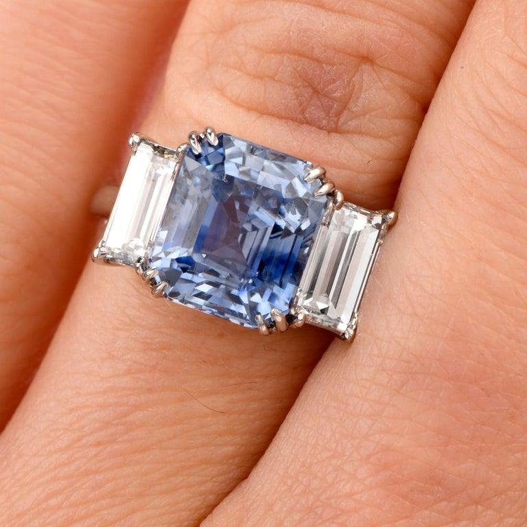 Emerald Cut Kashmir Sapphire No Heat Diamond Platinum 3-Stone Engagement Ring For Sale