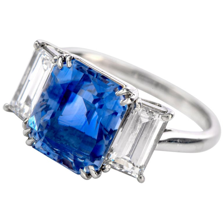 Kashmir Sapphire No Heat Diamond Platinum 3-Stone Engagement Ring For Sale