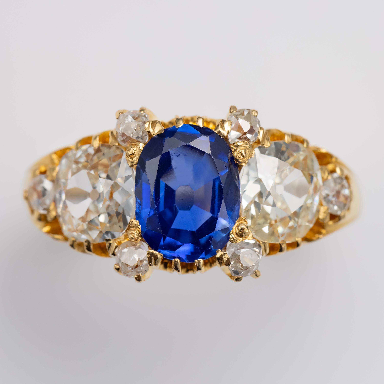 Kashmir Sapphire Ring with Diamonds Certified No-Heat