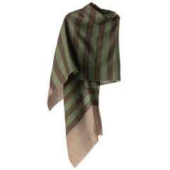 Kashmiri Indian Handwoven Charcoal And Green Stripe 100% Cashmere Shawl