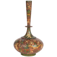 Kashmiri Indian Unusual Antique Lacquered Bottle Vase with Mythical Figures