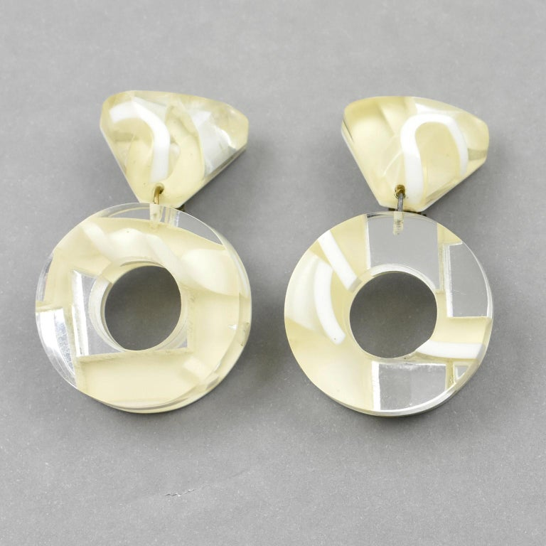 Women's or Men's Kaso Dangle Frosted and Mirror Lucite Clip Earrings For Sale