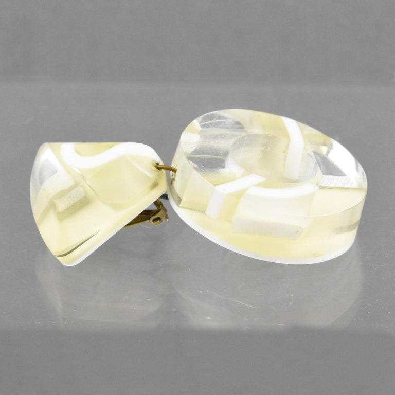 Kaso Dangle Frosted and Mirror Lucite Clip Earrings For Sale 3