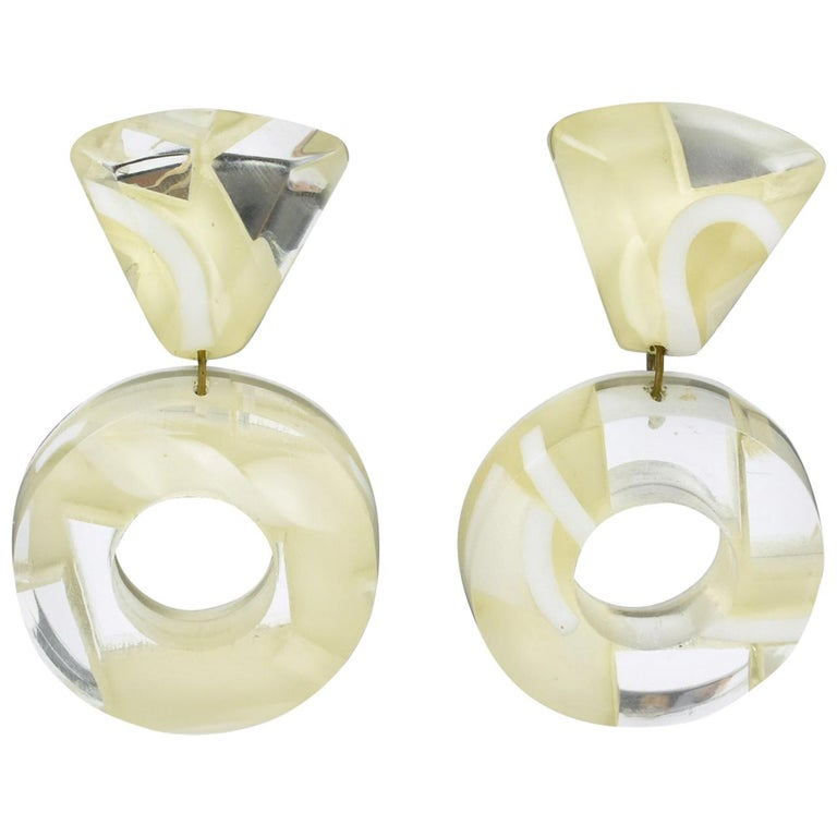 Kaso Dangle Frosted and Mirror Lucite Clip Earrings For Sale