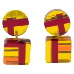 Kaso Geometric Dangle Lucite Clip Earrings Red, Yellow and Orange