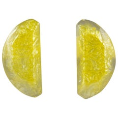 Kaso Lucite Clip Earrings Lemon Slice
