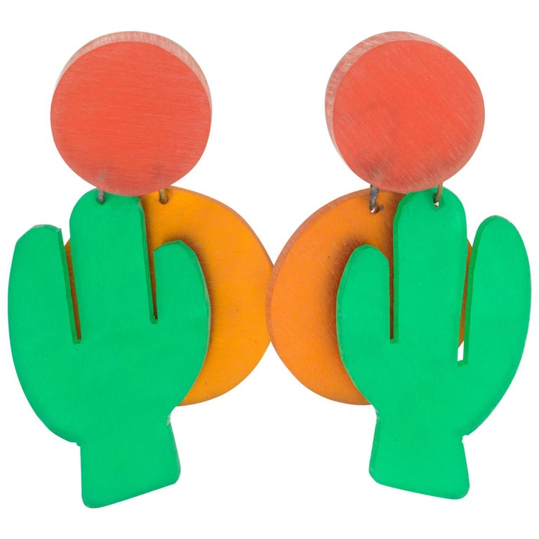 Kaso Orange and Green Dangle Lucite Clip Earrings Cactus and Sun For Sale