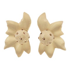 Kaso Oversized Carved Frosted Lucite Floral Clip Earrings