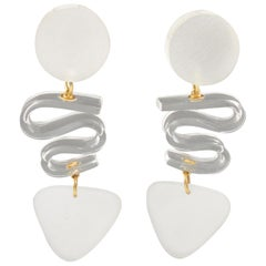 Kaso Oversized Frosted White Lucite Dangle Clip Earrings