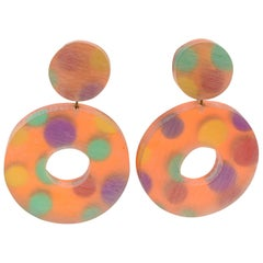 Kaso Oversized Lucite Clip Earrings Orange Donut Polka Dot