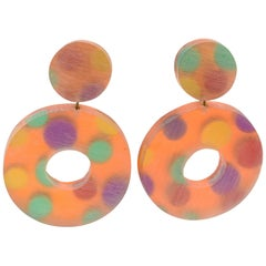 Kaso Oversized Lucite Clip Earrings Orange Donut Polka Dots