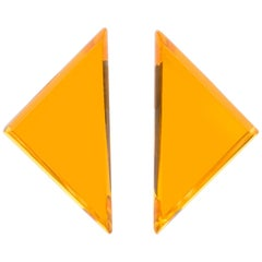 Kaso Oversized Neon Orange Lucite Triangle Clip Earrings