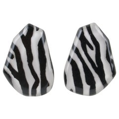 Kaso Oversized Zebra Black and White Lucite Clip Earrings