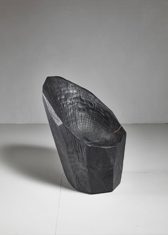 Organic Modern Kaspar Hamacher Blackened Wood Chair, Belgium For Sale