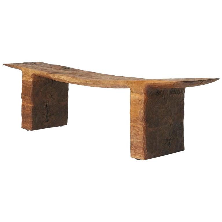 Kaspar Hamacher walnut bench, 2018, offered by Almond & Co.