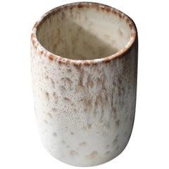 Kasper Würtz Brush Pot Vase in White and Mauve Glaze