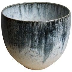 Kasper Würtz One off Stoneware Plant Pot Vase Blue and White Glaze