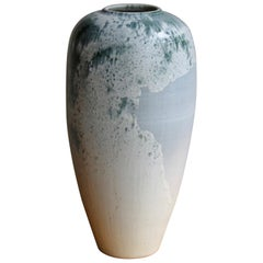 Kasper Würtz One Off Stoneware 'Rising Balloon' Vase #2 Blue & White Glaze