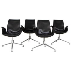 Kastholm and Fabricius Tulip Bucket Armchairs in Black Leather by Walter Knoll