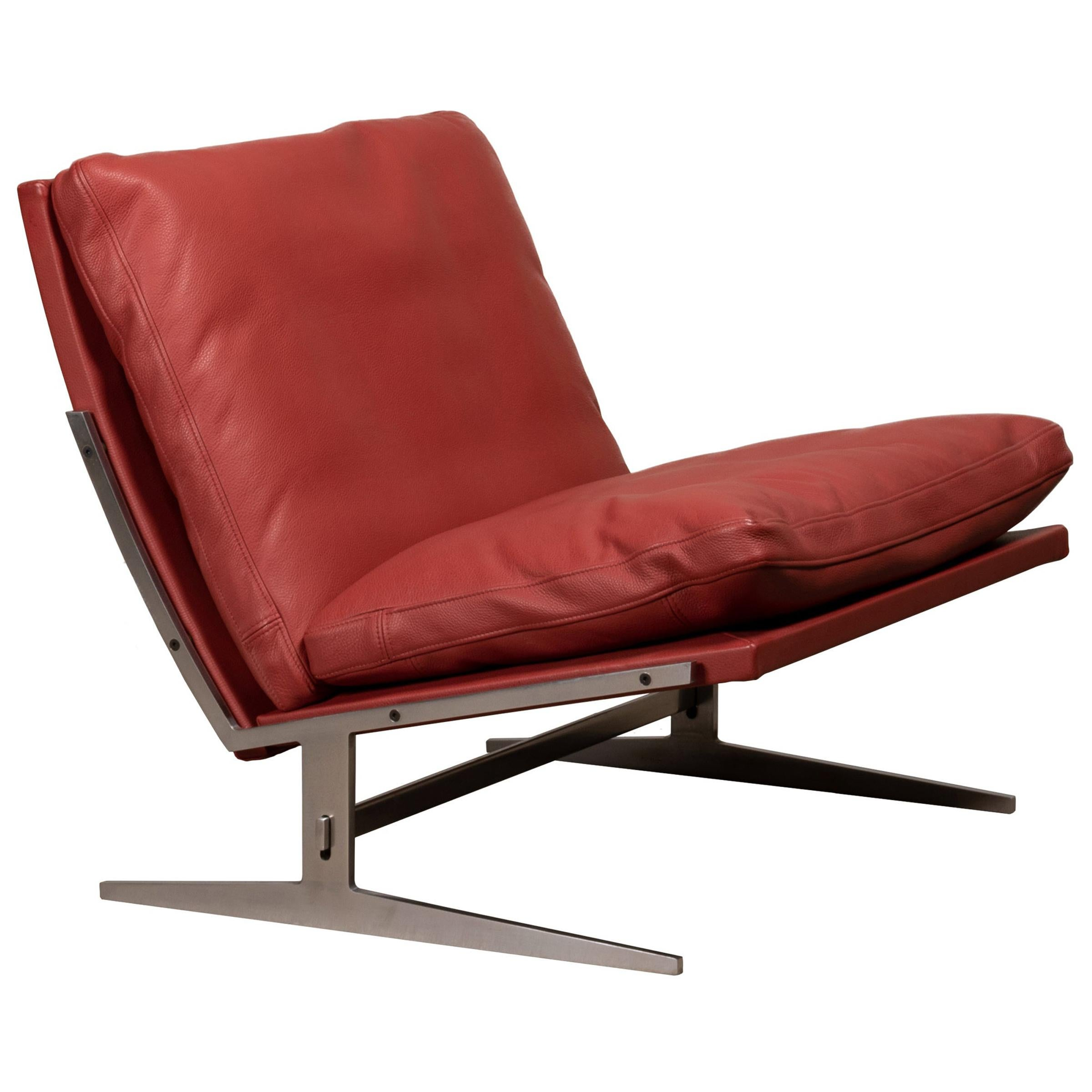 Kastholm & Fabricius BO-561 Lounge Chair in Ruby Red Leather by Bo-Ex Denmark