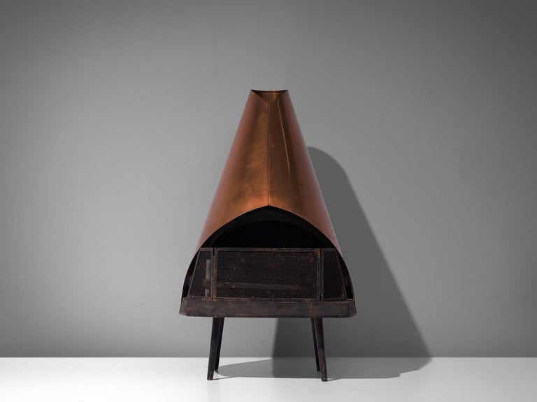Kastor, fire place, copper, stone and iron, Finland, 1960s