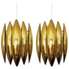 Kastor, Pair of Brass Pendants, by Jo Hammerborg for Fog & Mørup, 1960s