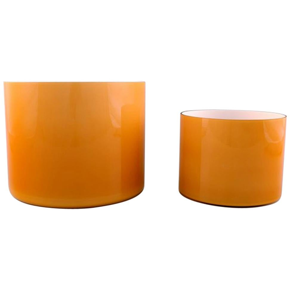 Kastrup / Holmegaard, a Pair of Large Bowls in Ocher Yellow Opaline Glass