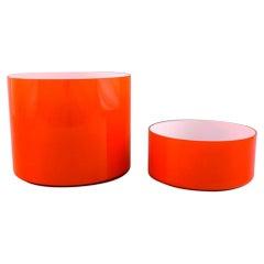 Kastrup / Holmegaard, a Pair of Large Bowls in Orange Opaline Glass