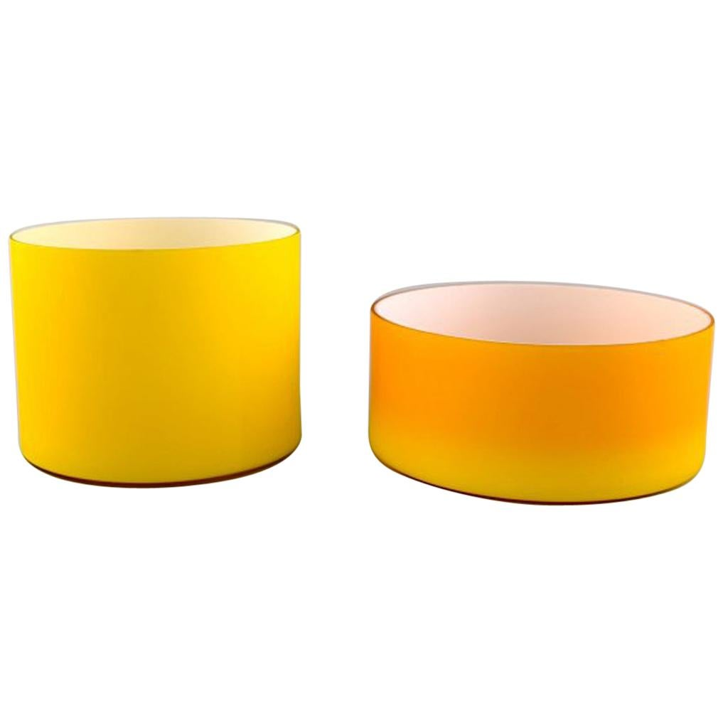 Kastrup / Holmegaard, a Pair of Large Bowls in Yellow Opaline Glass