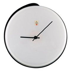 Kastrup / Holmegaard, Large Wall Clock in Black and White Mouth Blown Art Glass