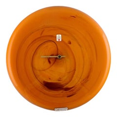 Kastrup / Holmegaard, Large Wall Clock in Orange Art Glass, 1960s-1970s