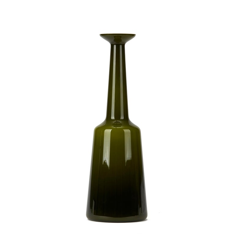 Scandinavian Modern Vintage Kastrup Holmegaard Olive Green Cased Glass Lamp Base, circa 1960-1970 For Sale