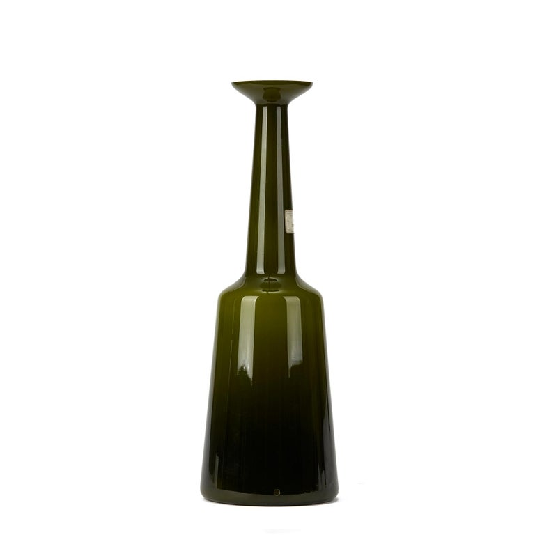 Danish Vintage Kastrup Holmegaard Olive Green Cased Glass Lamp Base, circa 1960-1970 For Sale