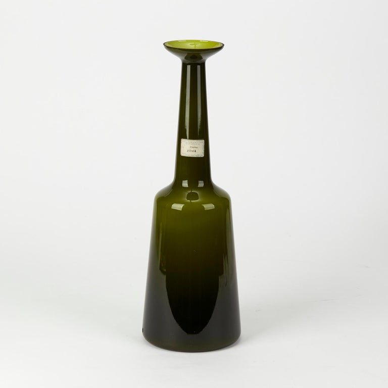Vintage Kastrup Holmegaard Olive Green Cased Glass Lamp Base, circa 1960-1970 In Good Condition For Sale In Bishop's Stortford, Hertfordshire