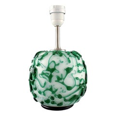 Kastrup / Holmegaard, Rare Round Table Lamp in Dark Green and White Glass