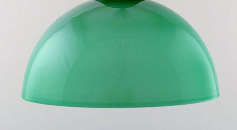 Scandinavian Modern Kastrup / Holmegaard, Rare Work Pendant Lamp in Green Opaline Glass, 1960s