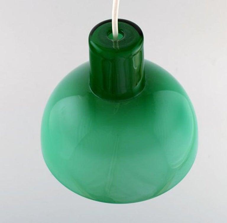 Danish Kastrup / Holmegaard, Rare Work Pendant Lamp in Green Opaline Glass, 1960s
