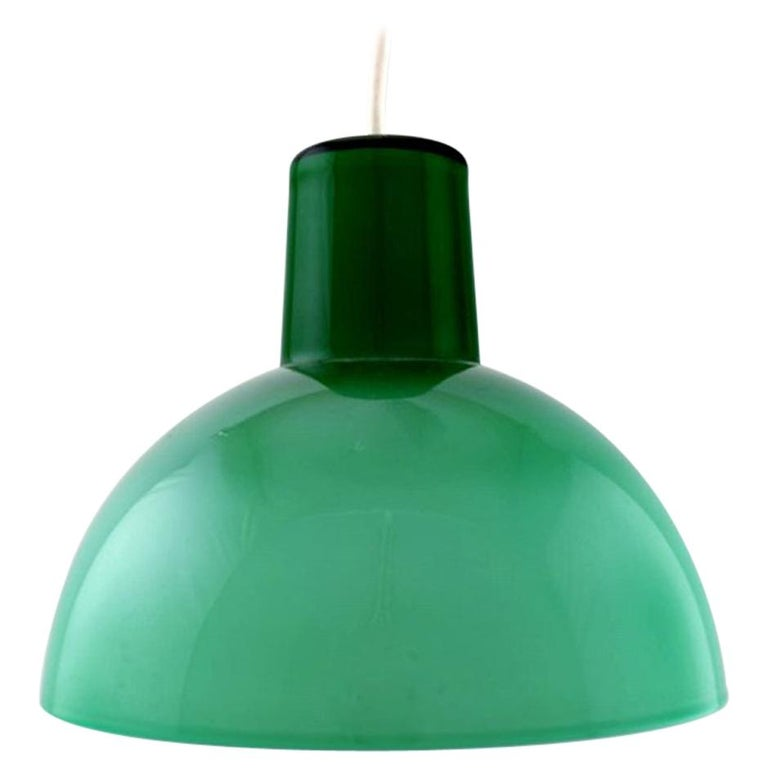 Kastrup / Holmegaard, Rare Work Pendant Lamp in Green Opaline Glass, 1960s