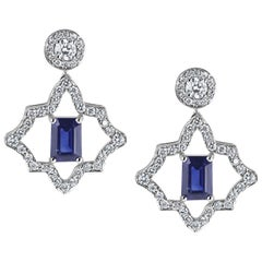 KATA 0.78ct Emerald Cut Deep Blue Sapphire and Diamond Platinum Stud Earrings
