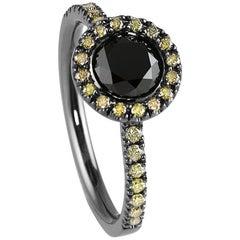 Kata 0.83ct Black Diamond Halo Cluster Ring with Yellow Diamonds 18k Shadow Gold