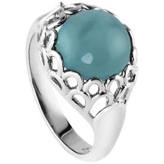 KATA Aquamarine Cabochon Palladium Protea Flower Dress Ring