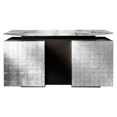 Katai Silver Sideboard with Dover White Marble Top