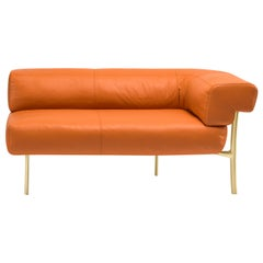 Katana 2 Seater Corner Sofa in Arancio Natural Leather with Satin Brass Legs