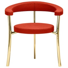 Katana Armchair in Cadmium Red Fabric with Polished Brass by Paolo Rizzatto
