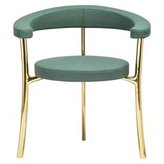 Katana Armchair in Dark Green Fabric with Polished Brass by Paolo Rizzatto