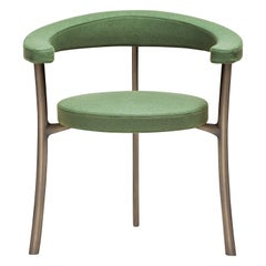 Katana Armchair in Green Fabric with Brown Burnished Brass by Paolo Rizzatto