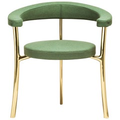 Katana Armchair in Green Fabric with Polished Brass by Paolo Rizzatto